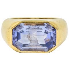 13.10 Carat Color-Change No Heat Sapphire Intaglio 22 Karat Gold Signet Ring