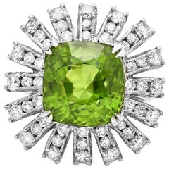 13.10 Carat Natural Very Nice Looking Peridot and Diamond 14K Solid Gold Ring
