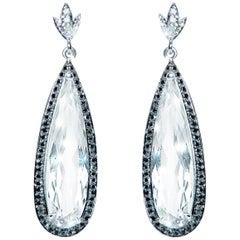 13.10 Carat Pear White Topaz Black Diamond Cluster Drop Earrings Natalie Barney