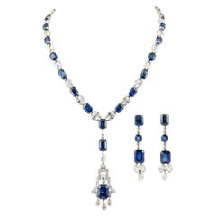 131.05 Carat No Heat Sapphires and Diamonds Necklace and Earrings Platinum