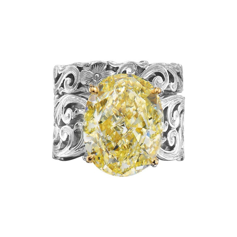 13.11 Carat Oval Fancy Yellow GIA Certified Diamond Engagement Ring and Band For Sale