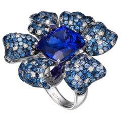 13.12 Carat Cushion-Cut Tanzanite Blue Sapphire Diamond 18 Karat White Gold Ring
