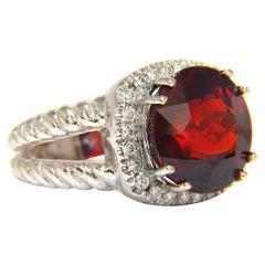 13.12CT Natural Spessartite Garnet Diamonds Ring Vivid Red 14KT Rope Twist