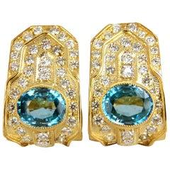 13.14 Carat Natural Vivid Blue Zircon Diamonds Clip Earrings 18 Karat