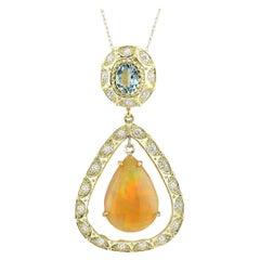 13.14 Carat Opal Aquamarine 18 Karat Yellow Gold Diamond Necklace
