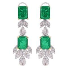 13.15 Carat Emerald Diamond 18 Karat White Gold Earrings