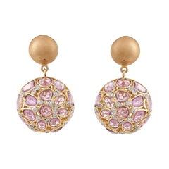 13.17 Carat Rose Cut Pink Sapphire Diamond Dangle Earring