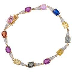 13.18 Carat Multi Sapphire Diamond 18 Karat Yellow Gold Simple Bracelet