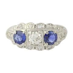 1.31ctw Old European Cut Diamond and Sapphire Art Deco Ring 900 Platinum Vintage
