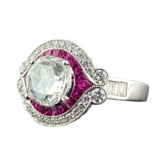 1.32 Carat Diamond and Ruby Solitaire Engagement Ring