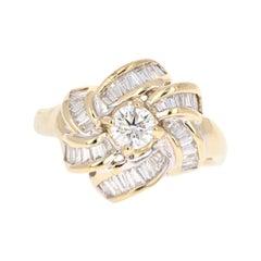 1.32 Carat Diamond Cluster 14 Karat Yellow Gold Ring