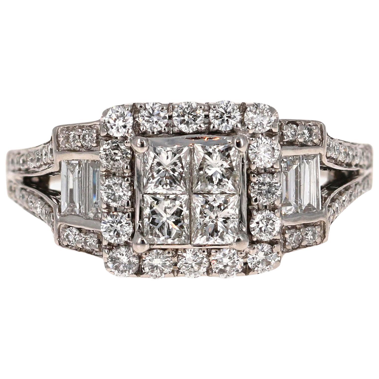 1.32 Carat Diamond Cluster Ring 14 Karat White Gold