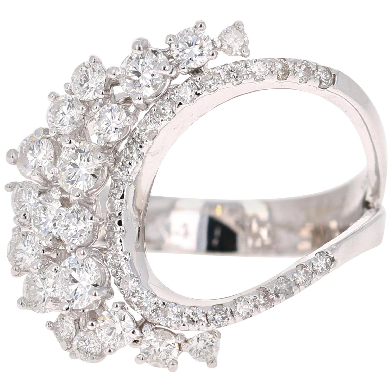 1.32 Carat Diamond Cocktail 14 Karat White Gold Ring