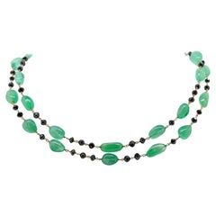 132 Carat Emeralds Beads with Black Diamond Beads Link Necklace