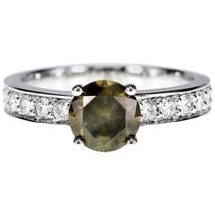 1.32 Carat Green Round Diamond Solitaire Ring