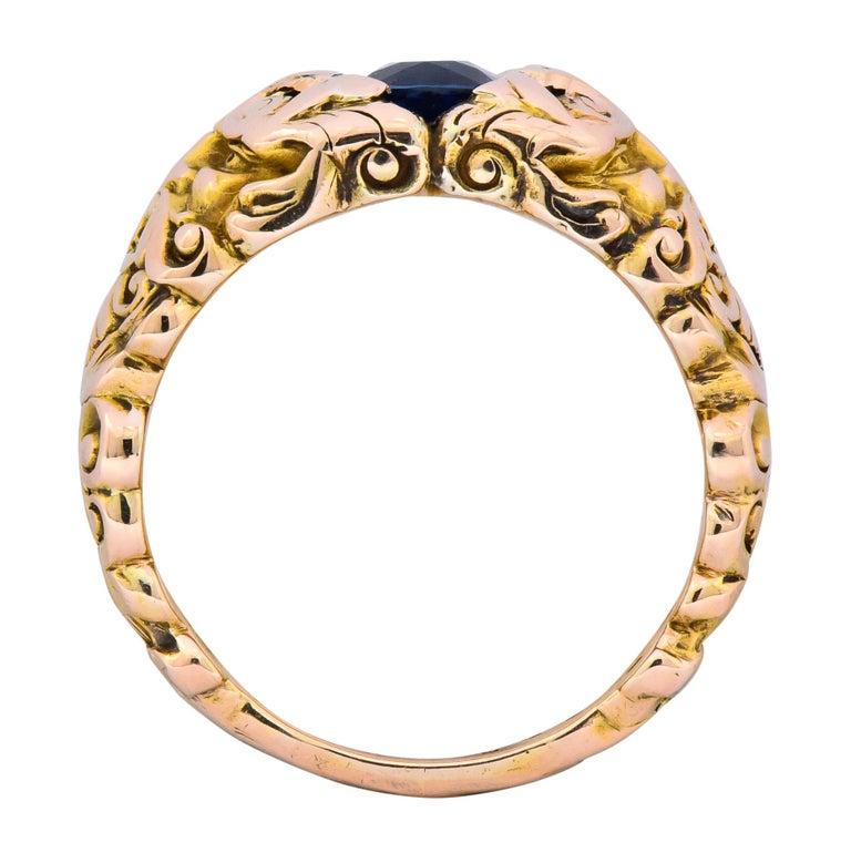 1.32 Carat No Heat Sapphire 14 Karat Gold Anemoi God of Wind Ring AGL Carter For Sale 4