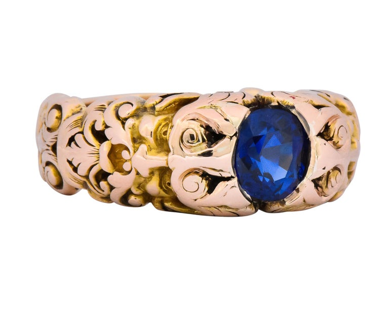 Art Nouveau 1.32 Carat No Heat Sapphire 14 Karat Gold Anemoi God of Wind Ring AGL Carter For Sale