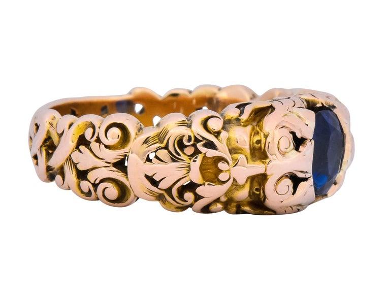 Oval Cut 1.32 Carat No Heat Sapphire 14 Karat Gold Anemoi God of Wind Ring AGL Carter For Sale
