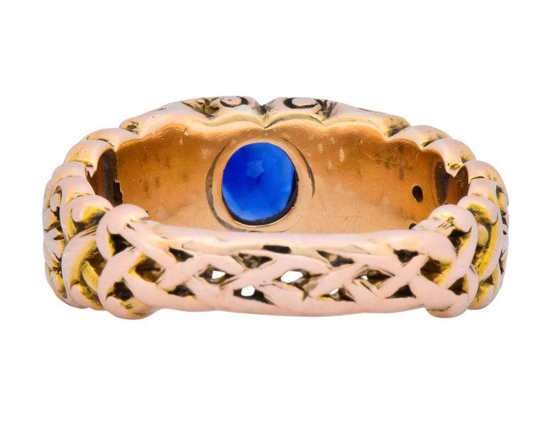 Women's or Men's 1.32 Carat No Heat Sapphire 14 Karat Gold Anemoi God of Wind Ring AGL Carter For Sale