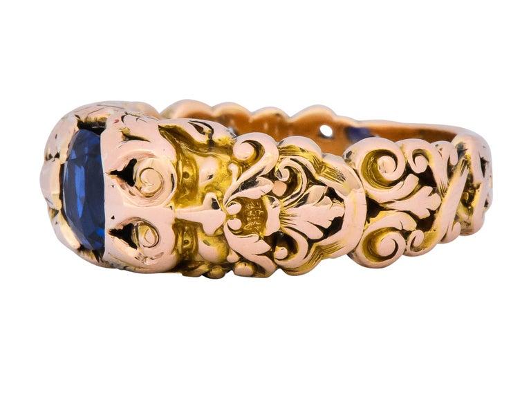 1.32 Carat No Heat Sapphire 14 Karat Gold Anemoi God of Wind Ring AGL Carter For Sale 2