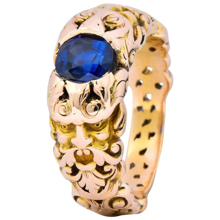 1.32 Carat No Heat Sapphire 14 Karat Gold Anemoi God of Wind Ring AGL Carter For Sale