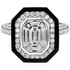 1.32 Carat Pie Cut Diamond and Onyx Art Deco Style Ring