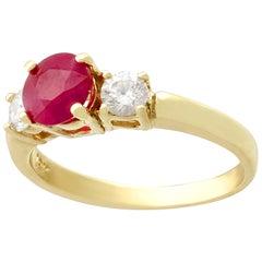 1.32 Carat Ruby Diamond Gold Three-Stone Ring