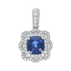 1.32 Carat Sapphire and Diamond Double Halo Pendant 14 Karat Gold Flower Blossom