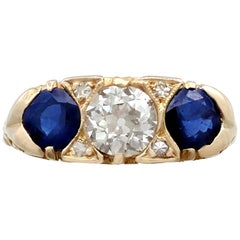 1.32 Carat Sapphire and Diamond Yellow Gold Cocktail Ring