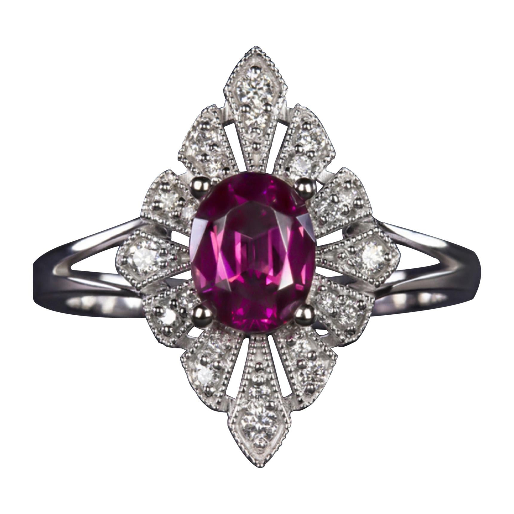 1.32 Carat Vivid Pink Rhodolite White Diamond Cocktail Ring