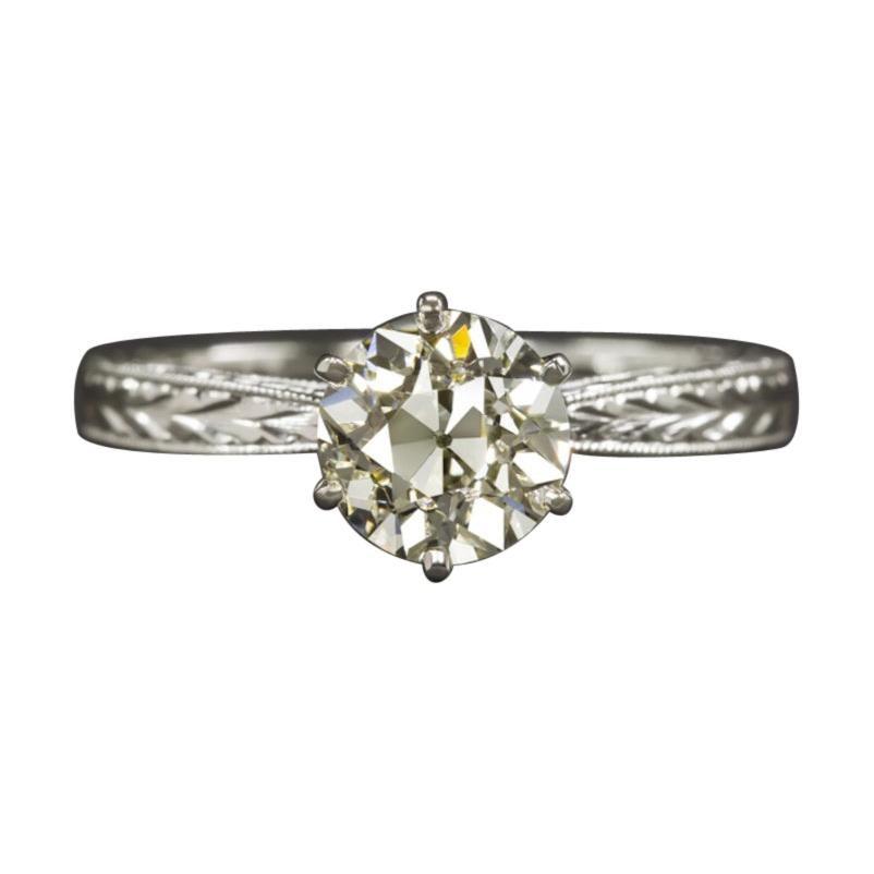 1.32 Ct Diamond VS1 Old European Cut Engagement Ring Art Deco Solitaire