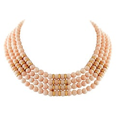 132 g Angel Skin Pink Coral, 18 Karat Yellow Gold Closure Multi-Strand Necklace