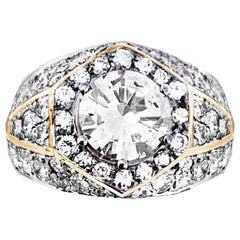 1.32 Karat Diamond Engagement Ring in Yellow Gold Surrounded by Several Diamonds