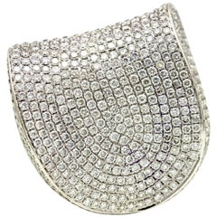 13.20 Carat 18 Karat White Gold Pave Diamond Large Fashion Statement Ring