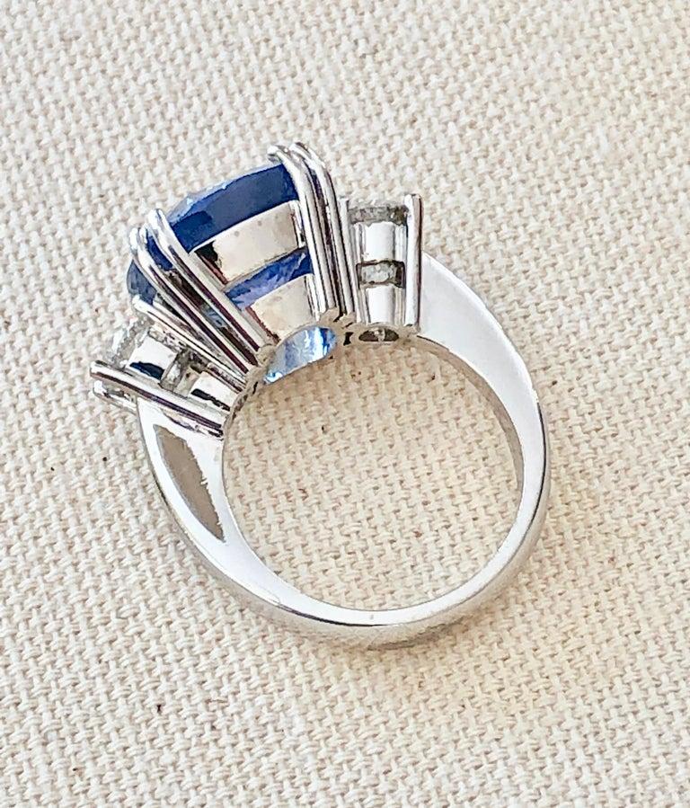 Women's 13.10 Carat Unheated Ceylon Blue Sapphire and Diamond Engagement Ring 18K For Sale