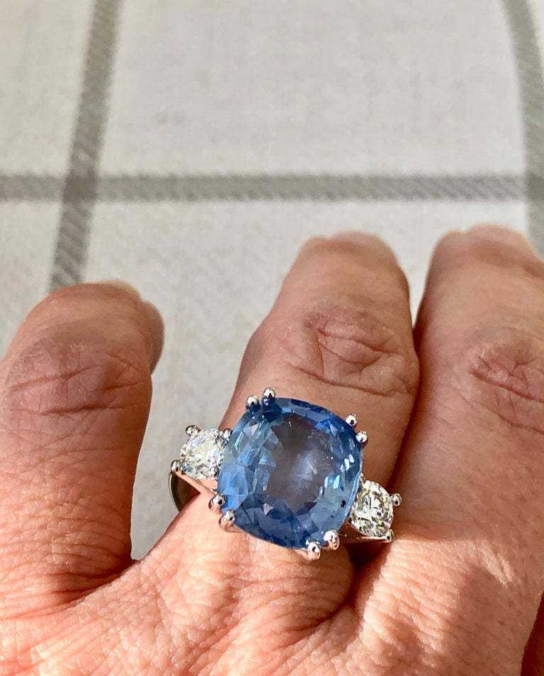 13.10 Carat Unheated Ceylon Blue Sapphire and Diamond Engagement Ring 18K For Sale 2