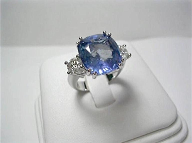 13.10 Carat Unheated Ceylon Blue Sapphire and Diamond Engagement Ring 18K For Sale 1