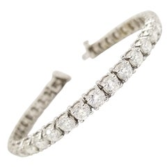 13.20 Carat Round Brilliant Natural Diamond Tennis Bracelet 14 Karat White Gold