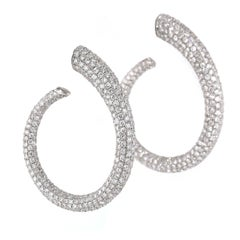 13.20 Carat White Diamond Hoops Earrings, Full Pave, Inside/Out