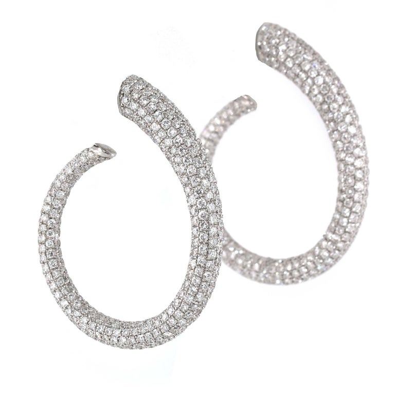 13.20 Carat White Diamond Hoops, Full Pave, Inside/Out