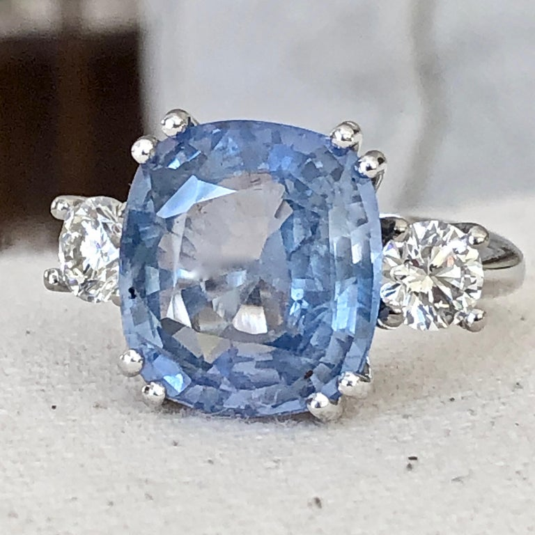 13.10 Carat Unheated Ceylon Blue Sapphire and Diamond Engagement Ring 18K In New Condition For Sale In Brunswick, ME