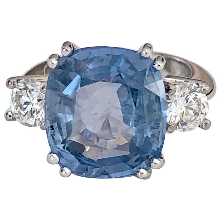 13.10 Carat Unheated Ceylon Blue Sapphire and Diamond Engagement Ring 18K For Sale