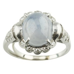 13.21 Cabochon Star Sapphire and Diamond Platinum Cocktail Ring
