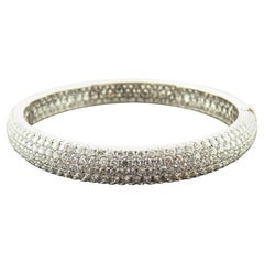 13.21 Carat Diamond Pave 18 Karat White Gold Bangle