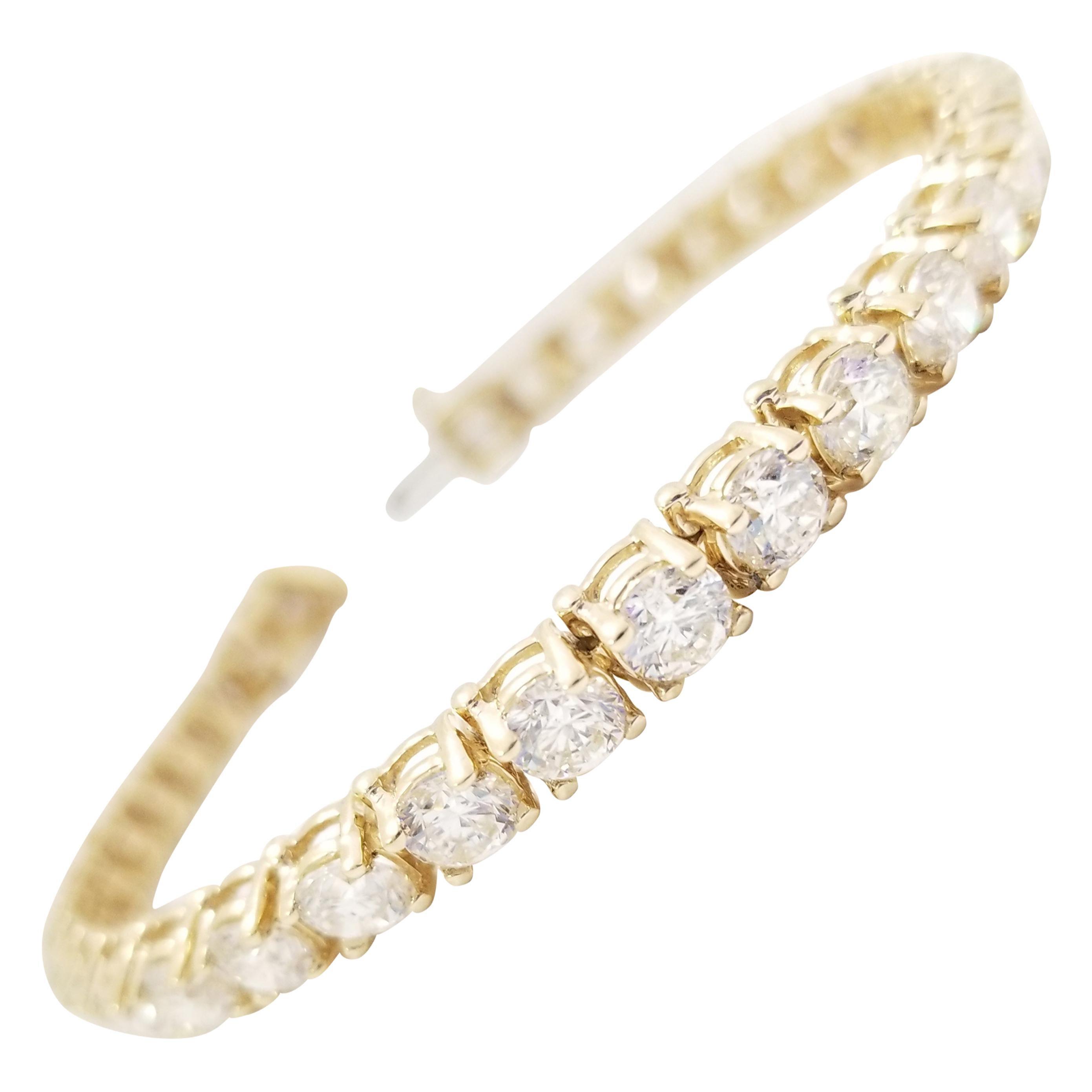 13.21 Carat Round Brilliant Natural Diamond Tennis Bracelet 14 Karat Yellow Gold