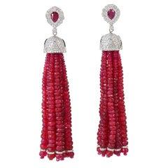 132.14 Carat Ruby Diamond 18 Karat Gold Chandelier Drop Tassel Earrings
