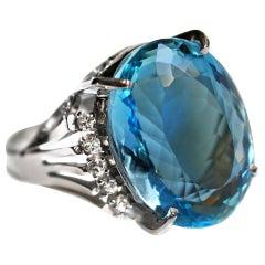 13.22 Carat Aquamarine Diamond Platinum Ring