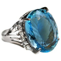 13.22 Carat Aquamarine Diamond Platinum Ring