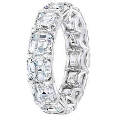 13.22 Carat Asscher Cut Diamond Eternity Ring Band
