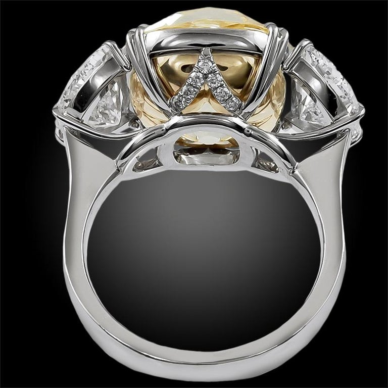 13.23 Carat with GIA Certified Old Mine Natural Fancy Yellow Diamond Ring In Excellent Condition For Sale In New York, NY